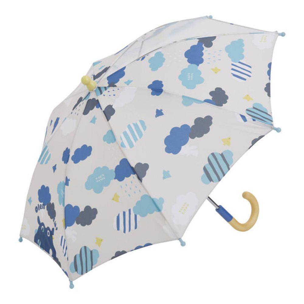 日本 kukka hippo - 小童單片透明直傘-雲朵飄飄
