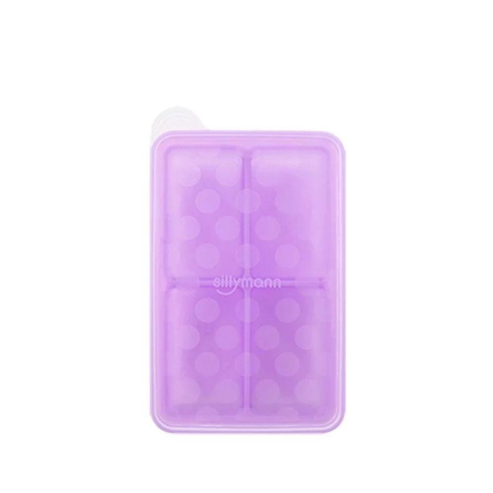 韓國 sillymann - 100%鉑金矽膠副食品分裝盒-4格-紫-100ml/格