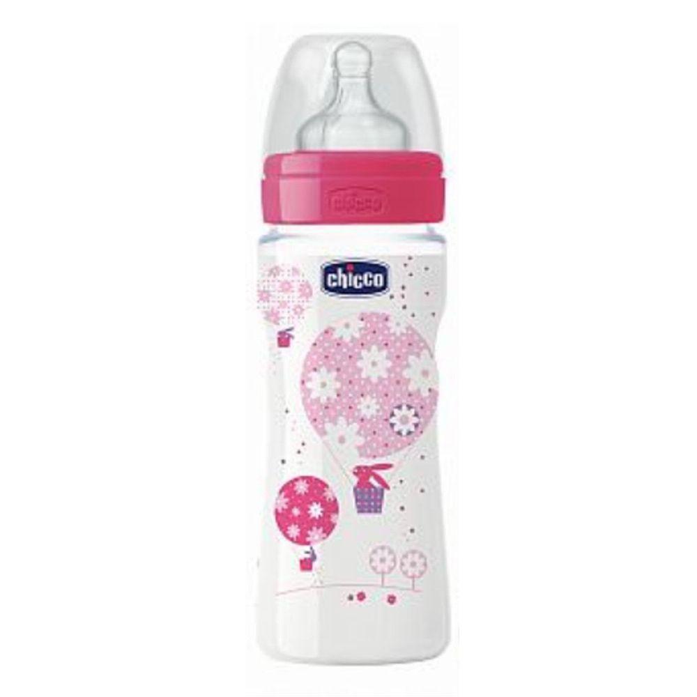 義大利 chicco - 舒適哺乳-甜美女孩矽膠PP奶瓶-特大(4m+) (330ml)-三孔