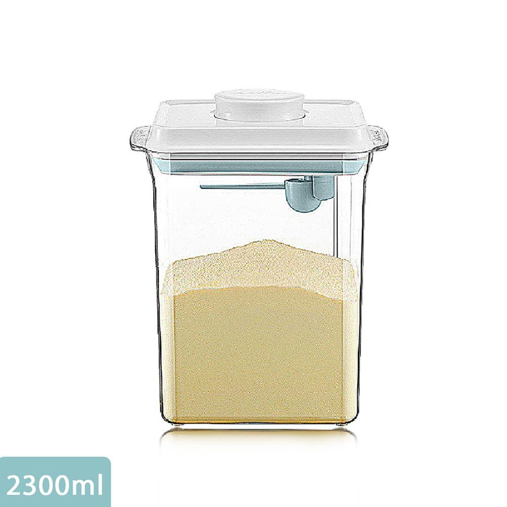 ANKOU LIFE安酷生活 - 一鍵搞定防滑刮平奶粉罐 透明款 (附贈勺子+掛具+三角刮平片 )-2300ml