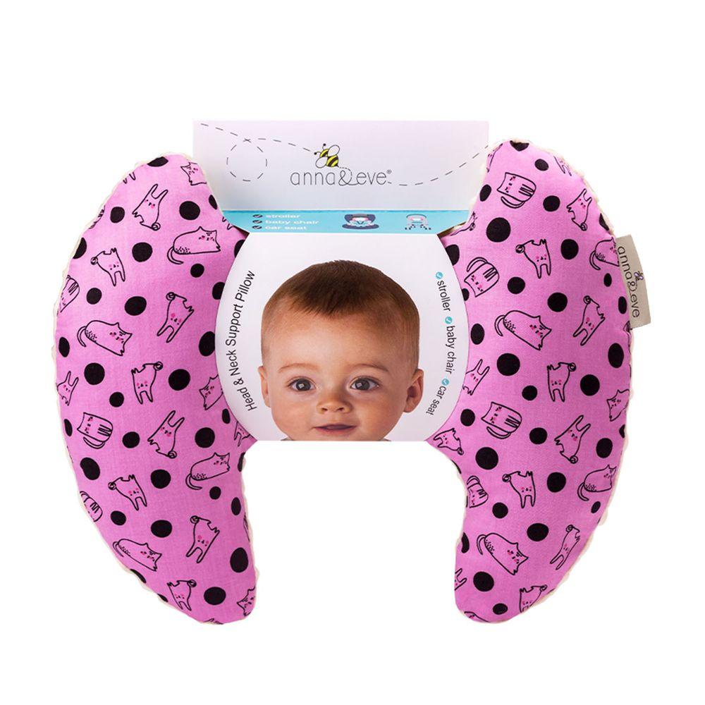 Anna&Eve - 美國嬰幼兒頭頸支撐保護枕-紫色兔子躲貓貓