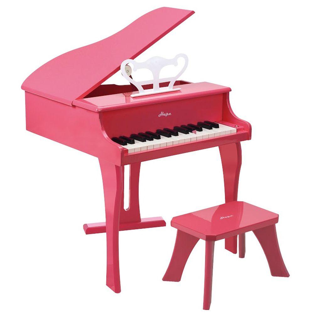 Hape - 豪華木製三角鋼琴(音樂啟蒙玩具)-粉色