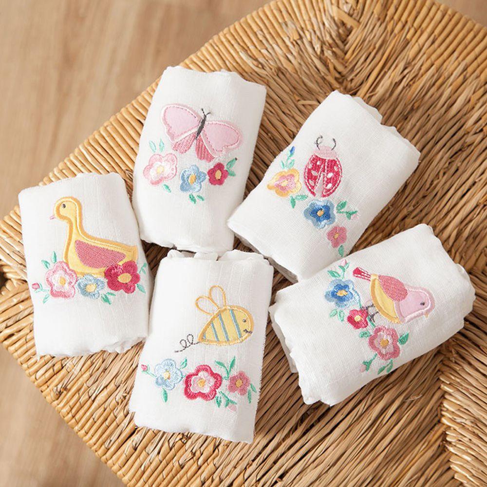 英國 JoJo Maman BeBe - 100% 純棉多功能細紗布拍嗝巾/安撫巾/小薄被5入組(60*60cm)-花花世界