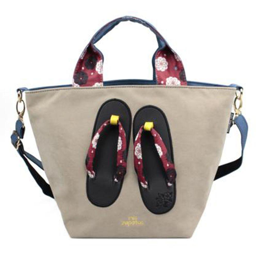 mis zapatos - 肩揹美腿包(棉布)-和服木屐夾腳拖-BE米色 (24*19*19cm)