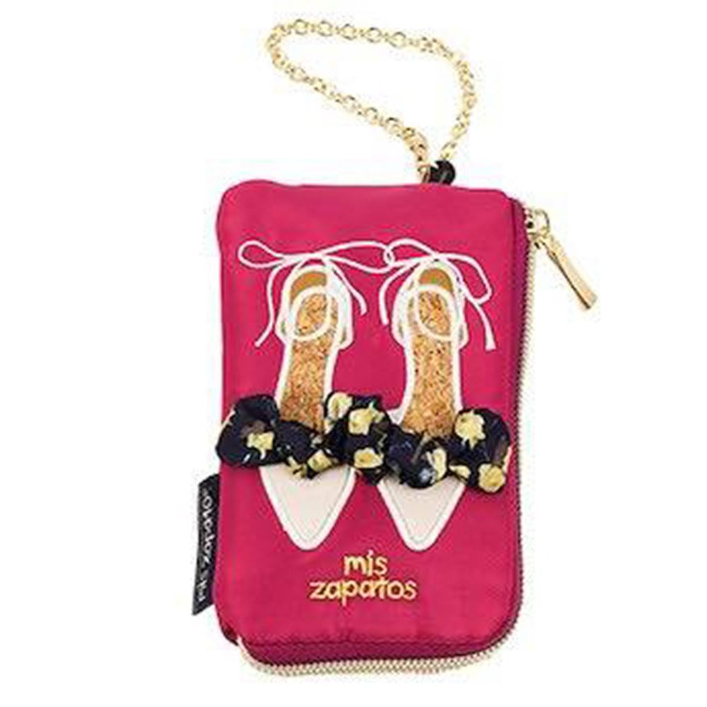 mis zapatos - 美腿零錢包票卡夾(尼龍)-skinny蝴蝶結綁帶-PI粉色 (8*13*2cm)
