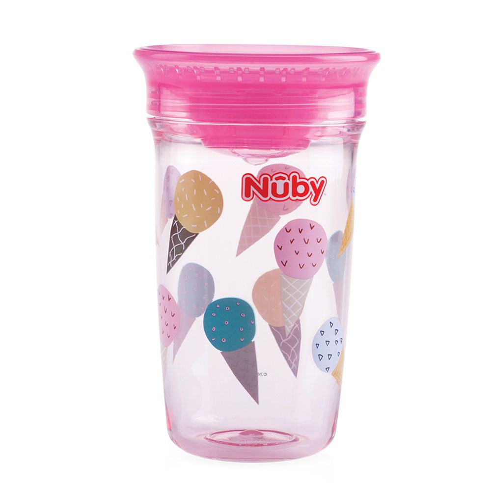 Nuby - 晶透360度喝水杯(12M+)-粉冰淇淋-300ml