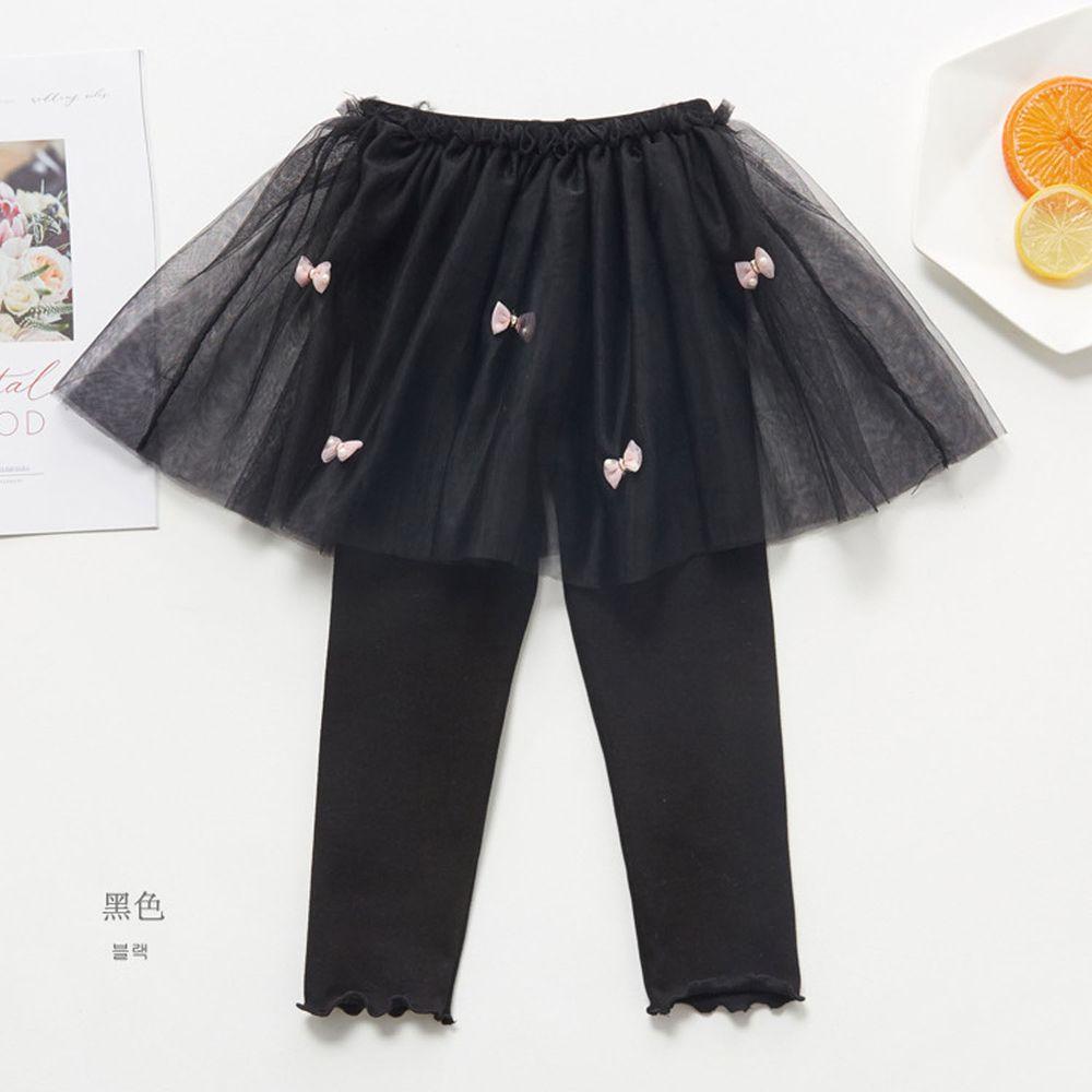 FANMOU - 內搭褲裙-蝴蝶結紗裙-黑色