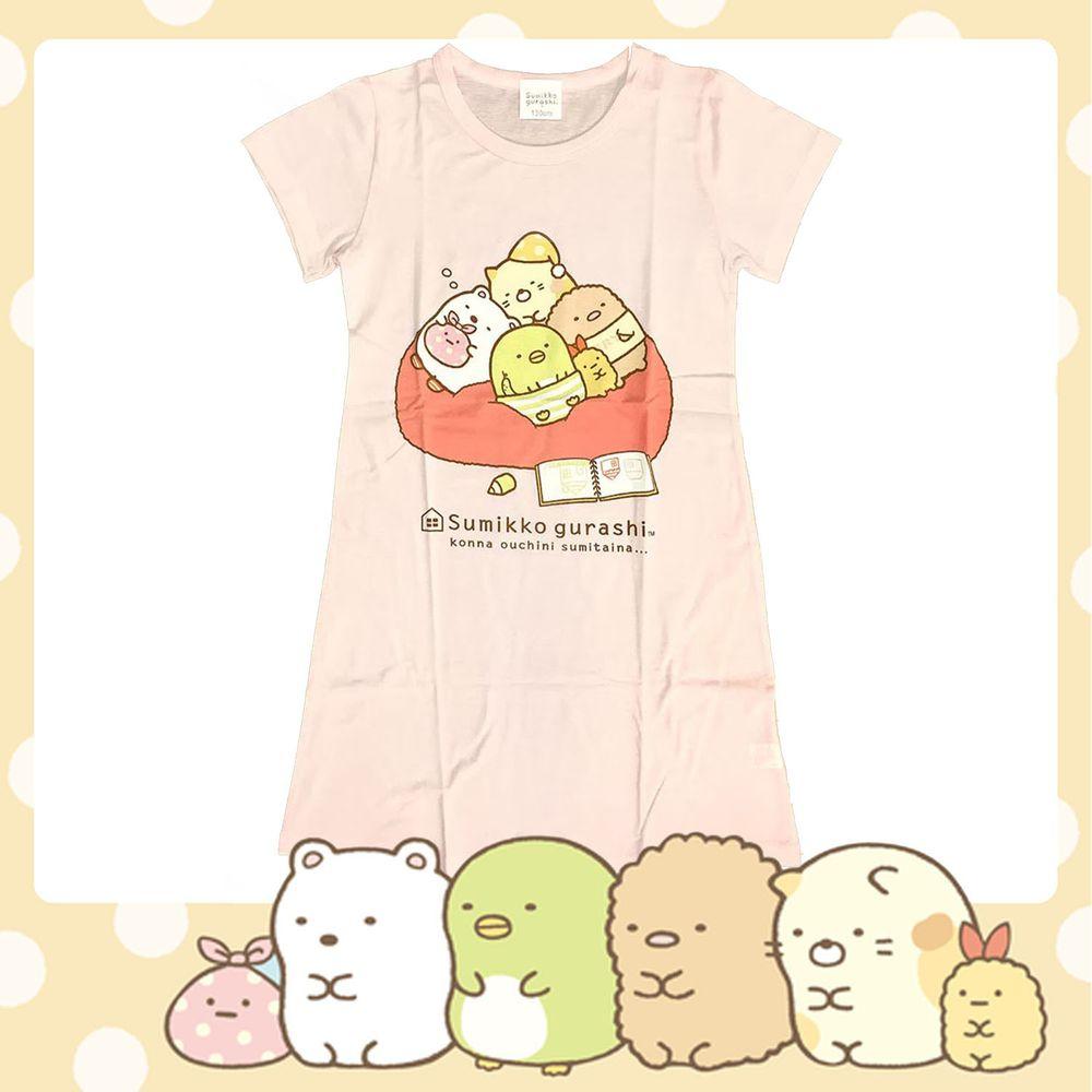角落小夥伴 - 100%純棉女童短袖連身睡衣(台灣製)-角落生物大圖版-粉