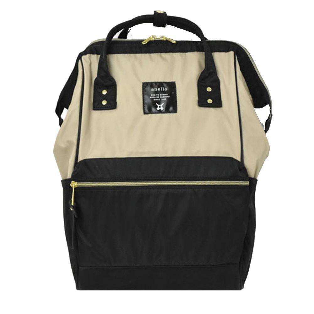日本 Anello - 日本大開口高密度尼龍後背包-Regular大尺寸-BB米黑