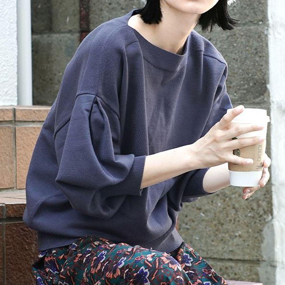 日本 zootie - 澎袖剪裁廣口針織上衣-深藍
