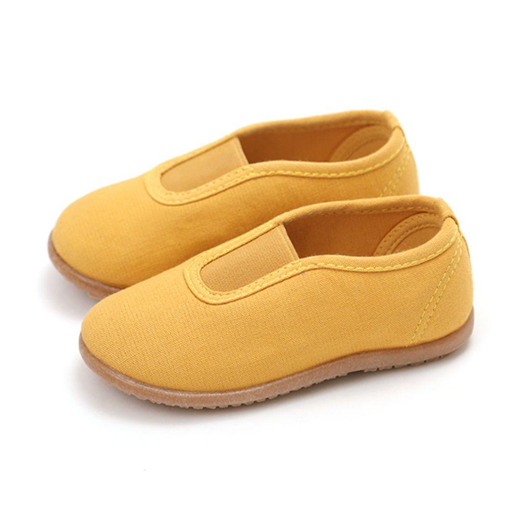 韓國 OZKIZ - 純棉透氣兒童休閒鞋/室內鞋-芥末黃
