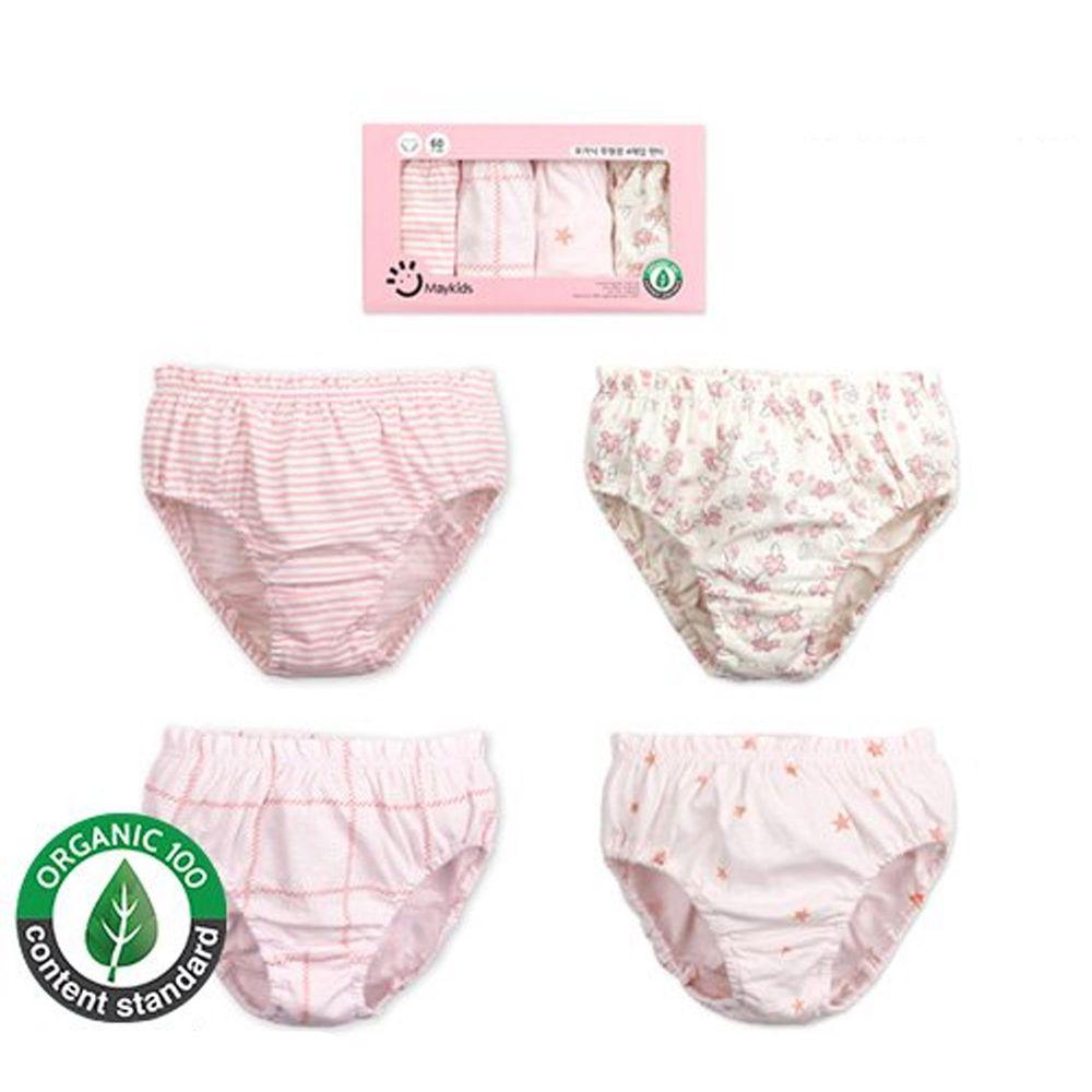 韓國 Maykids - 有機棉女寶三角褲四入組-粉紅世界
