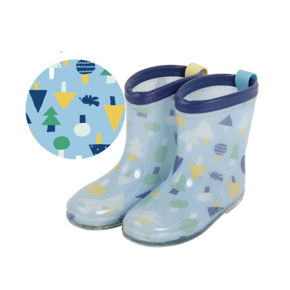 日本 kukka hippo - 小童雨鞋-藍綠森林