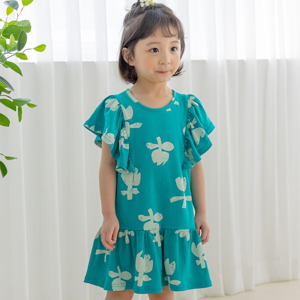 韓國 Orange Mom - 復古鬱金香洋裝-藍綠