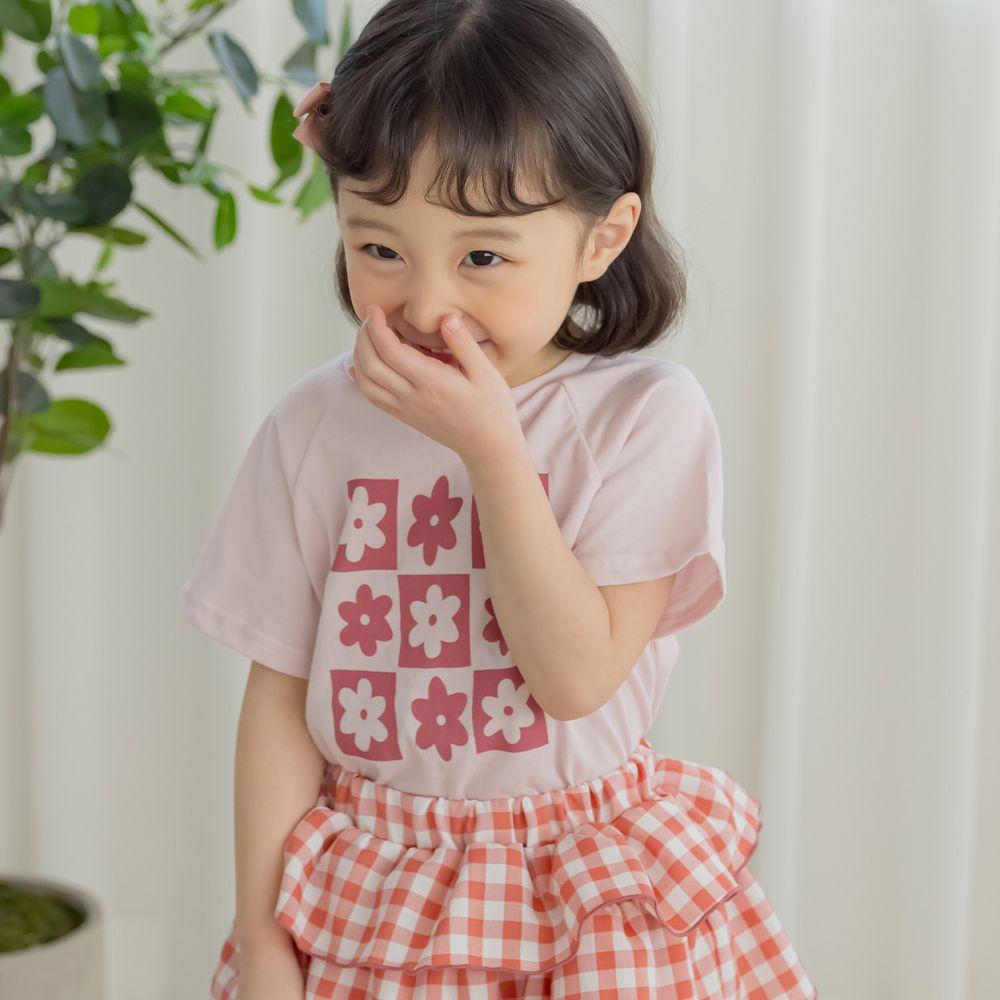 韓國 Orange Mom - 九宮格花朵上衣-藕粉