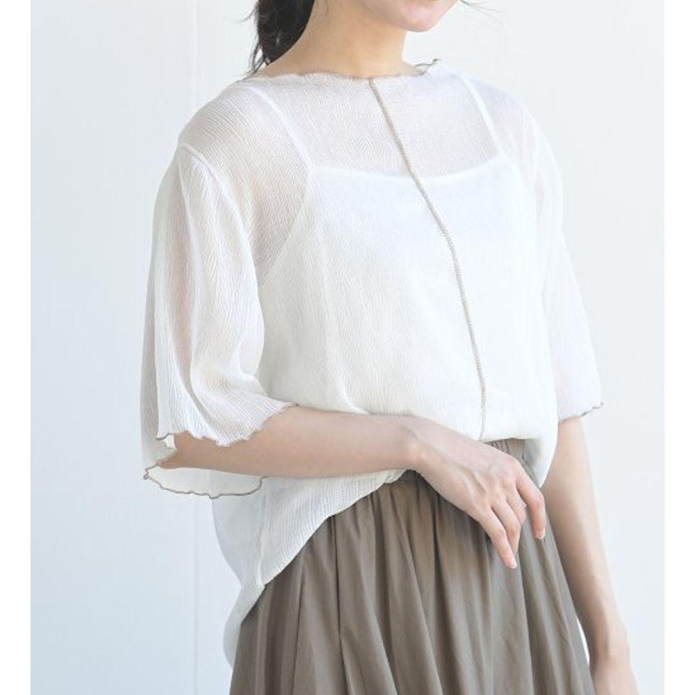 日本 ELENCARE DUE - 楊柳風微透膚五分袖上衣X背心套裝-白