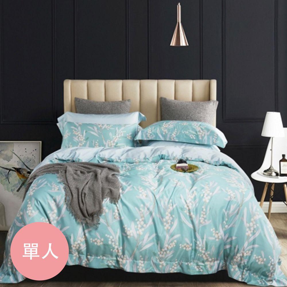 PureOne - 吸濕排汗天絲-錦珠蓮-單人床包枕套組(含床包*1+枕套*1)