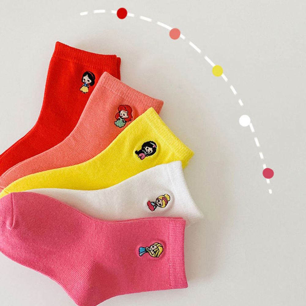 純色卡通公主刺繡短筒襪(5雙一組)
