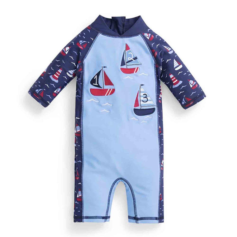 英國 JoJo Maman BeBe - 嬰幼兒/兒童連身式防曬泳裝-數字帆船