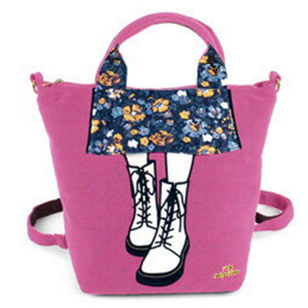 mis zapatos - 3way美腿包(棉布)-馬丁靴-PI粉色 (21*30*15cm)