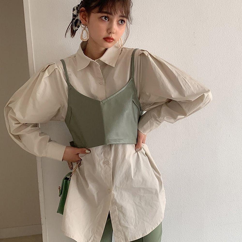 日本 GRL - 蝴蝶結綁帶皮革細肩背心X長袖襯衫-卡其X杏