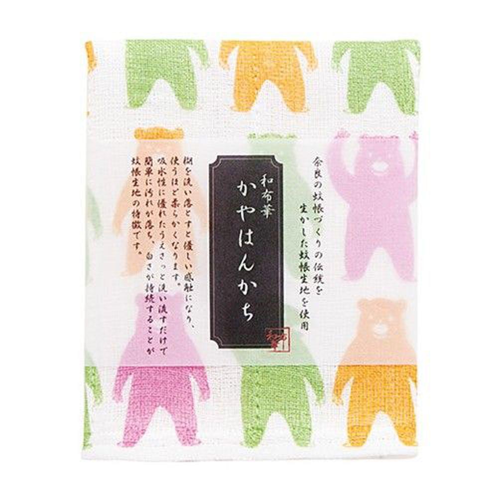日本代購 - 【和布華】日本製奈良五重紗手帕-熊熊體操 (30x26cm)