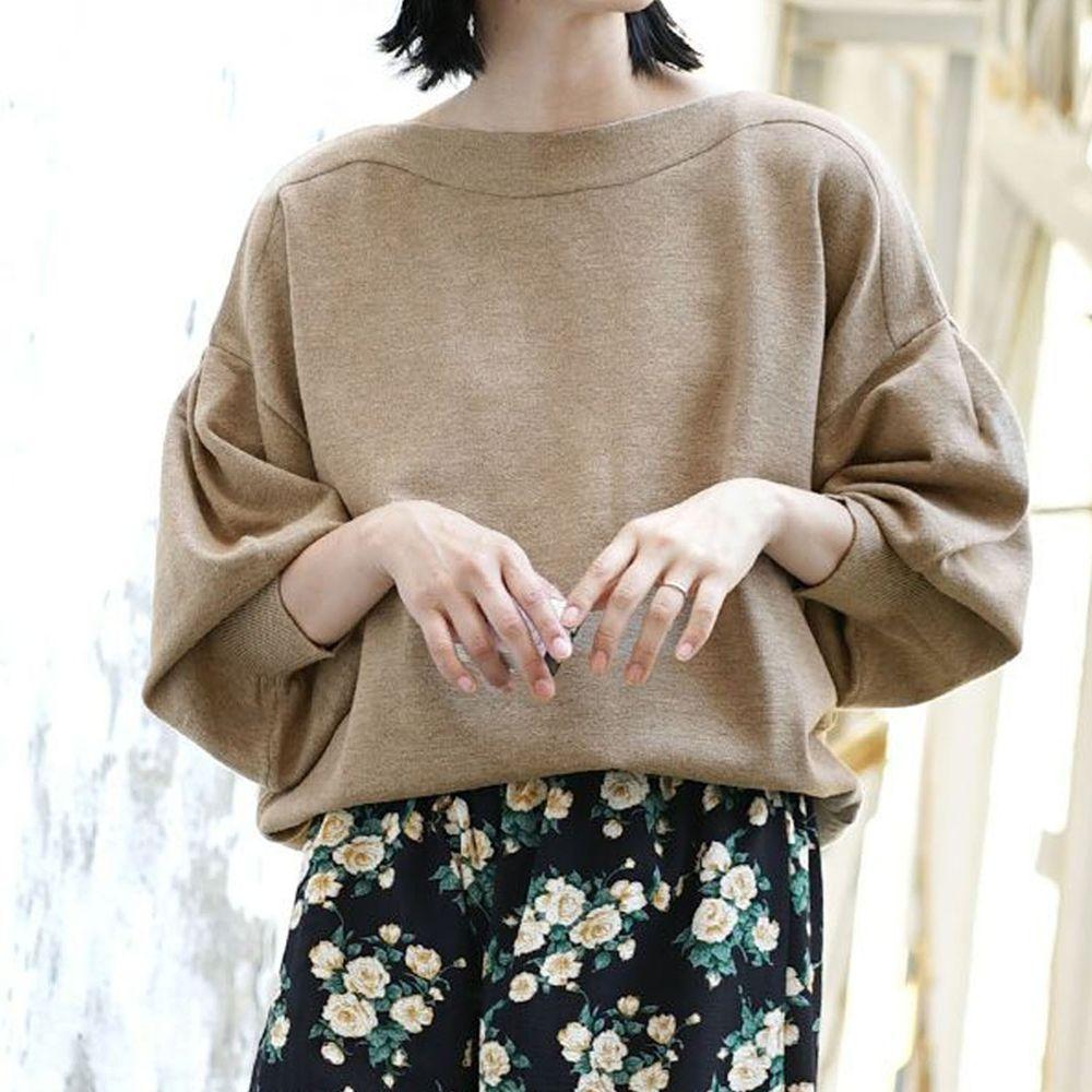 日本 zootie - 澎袖剪裁廣口針織上衣-杏褐
