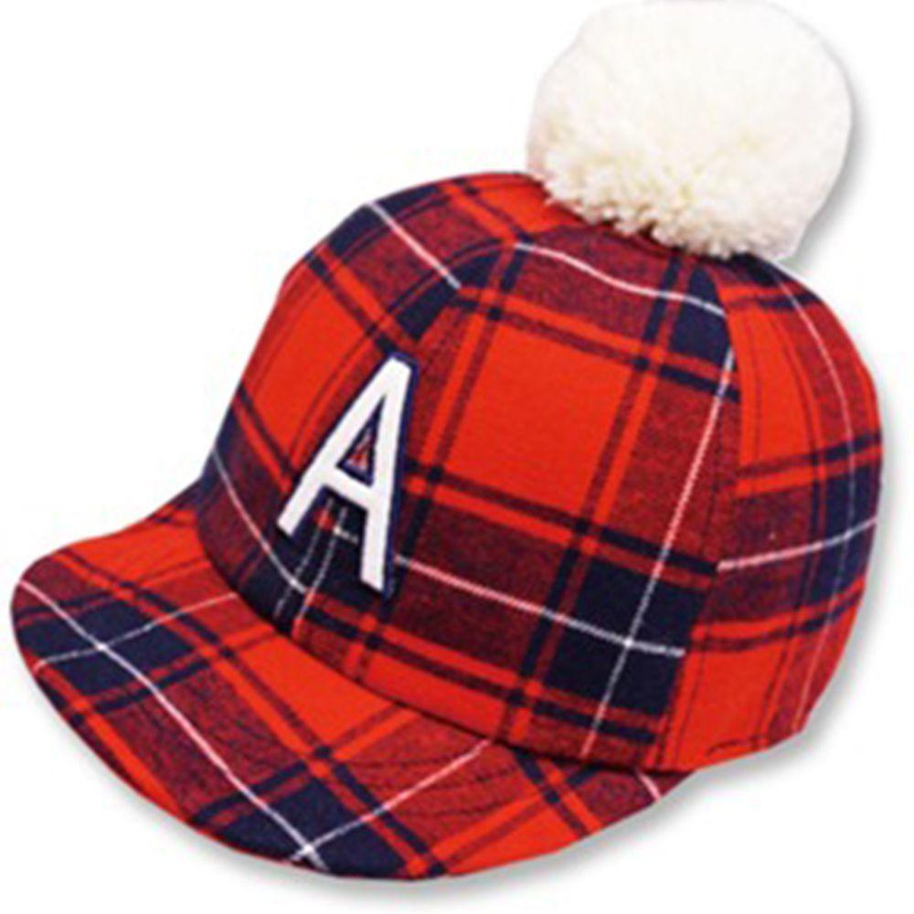 日本 Connect M - 可愛保暖帽-小童款-格紋棒球帽_紅色-03-2005