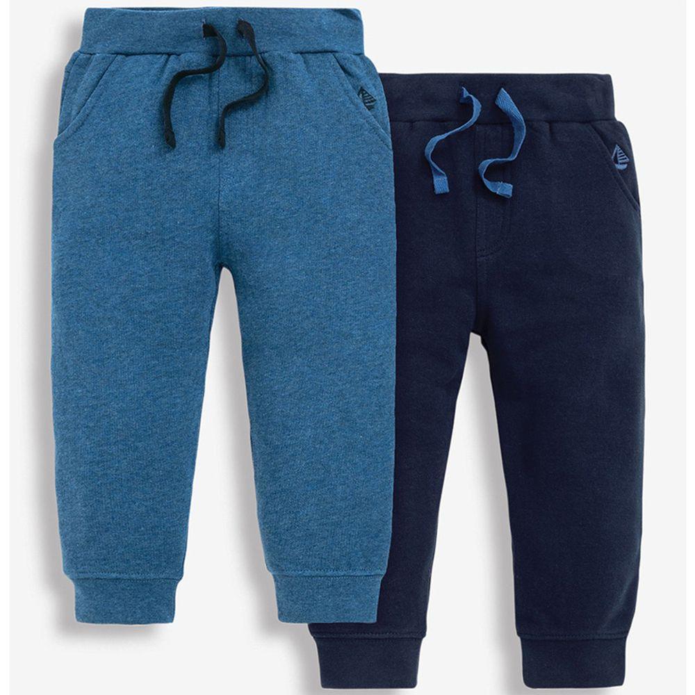 英國 JoJo Maman BeBe - 保暖100%純棉2入組長褲-海軍藍
