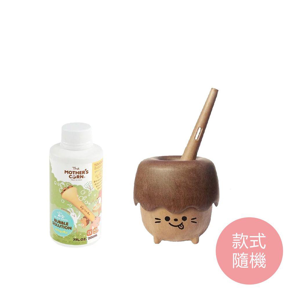 韓國 Mother's Corn - 小木森林兒童泡泡玩具(款式隨機)+兒童專用不易破泡泡補充罐(200ml)