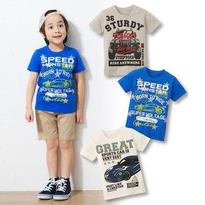 男孩夏日鮮豔印花短袖T恤三件組-汽車-灰色+象牙色+深藍色