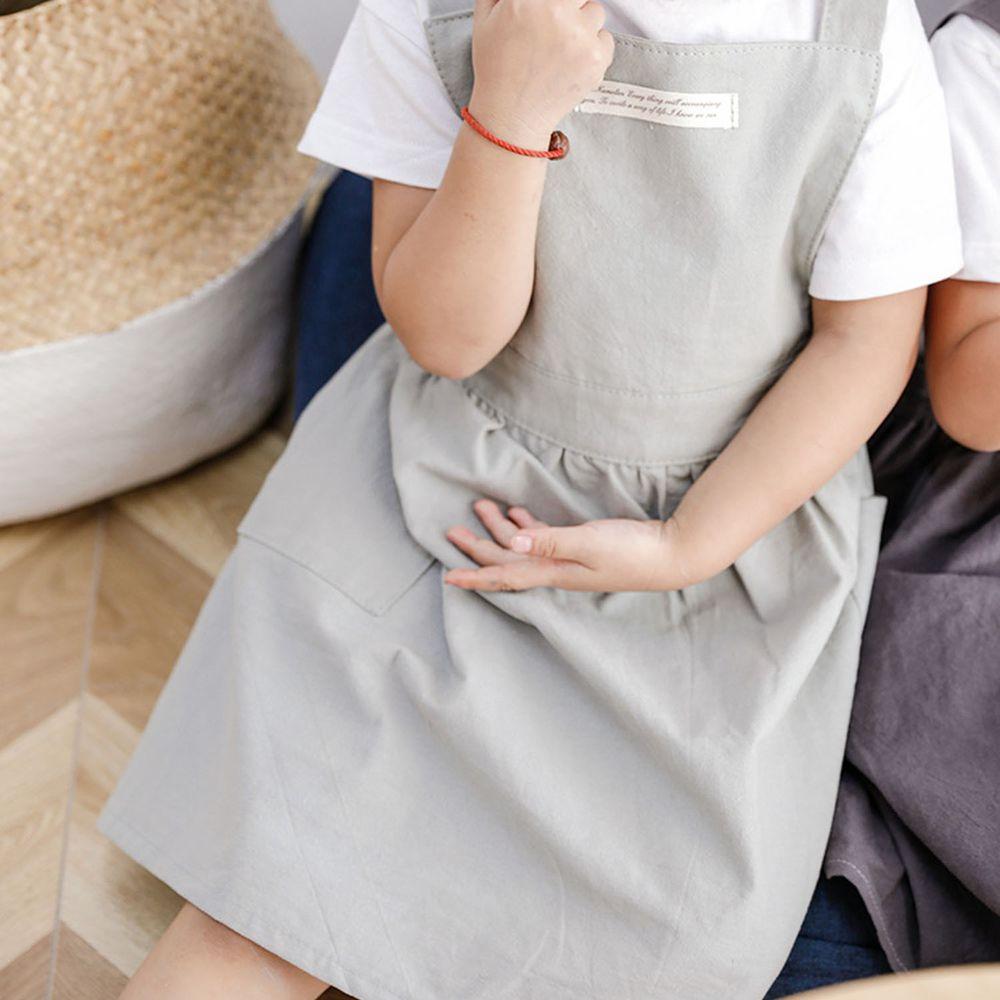 北歐文藝棉麻百褶圍裙-兒童款-淺灰色