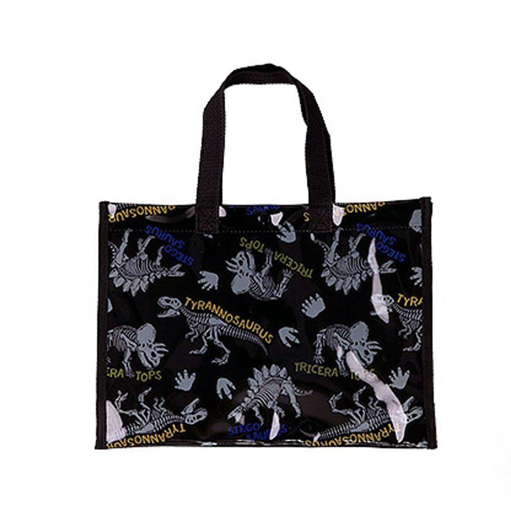 日本 ZOOLAND - 防水PVC手提袋/游泳包-B化石恐龍-黑 (25x34x11cm)