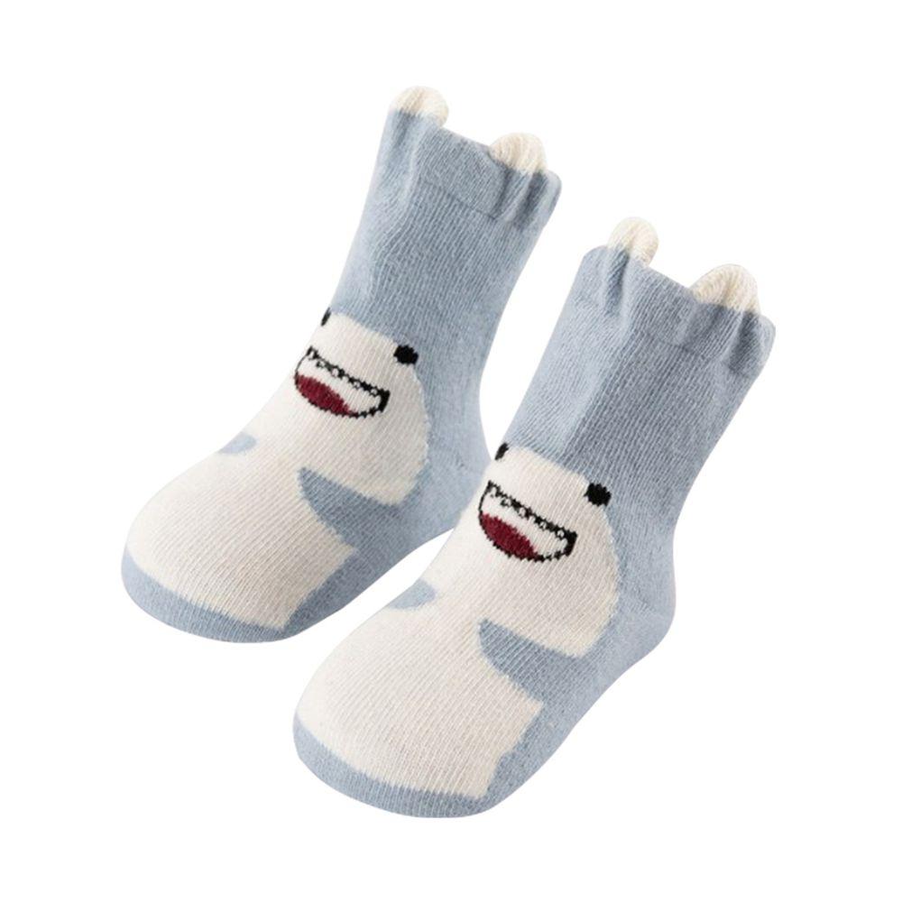 JoyNa - 立體耳朵造型 動物短襪(底部止滑)-藍色鯊魚