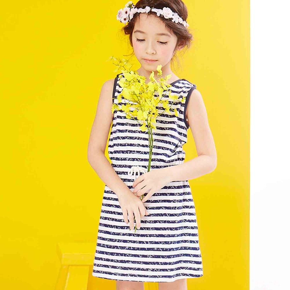 麗嬰房 Little moni - 夏日斑駁感條紋無袖洋裝-深藍