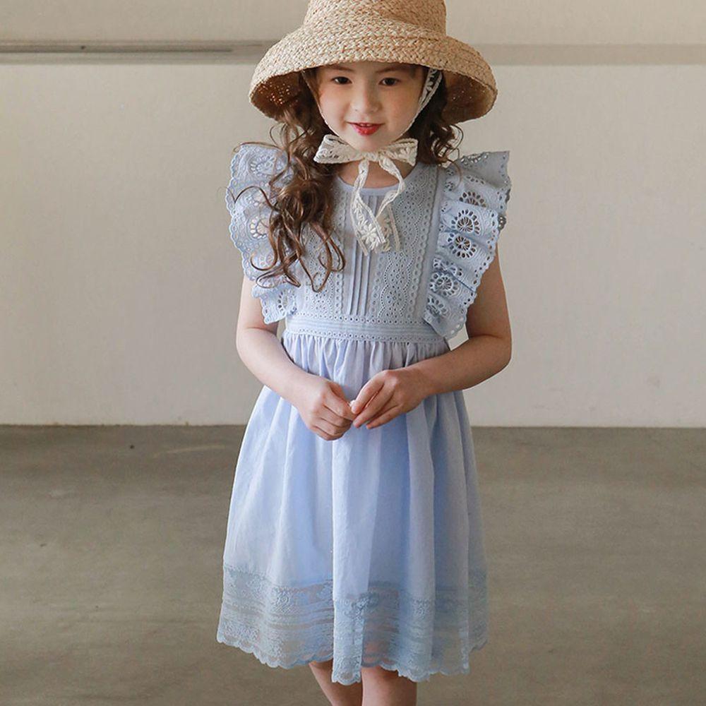 韓國 PuellaFLO - 鏤空太陽雕花荷葉袖高腰洋裝-藍