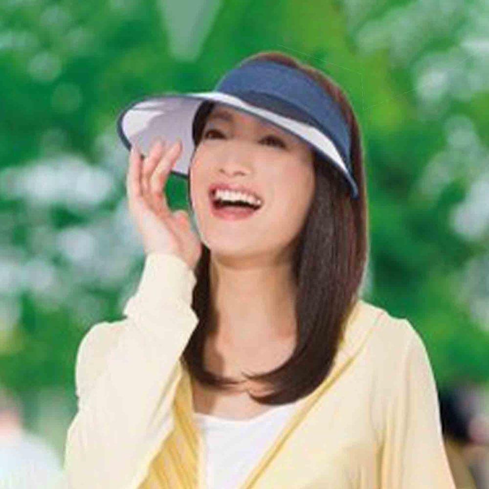 日本 SUN FAMILY - 13cm帽簷可捲式收納抗UV中空遮陽帽-丹寧 (頭圍54-60cm)