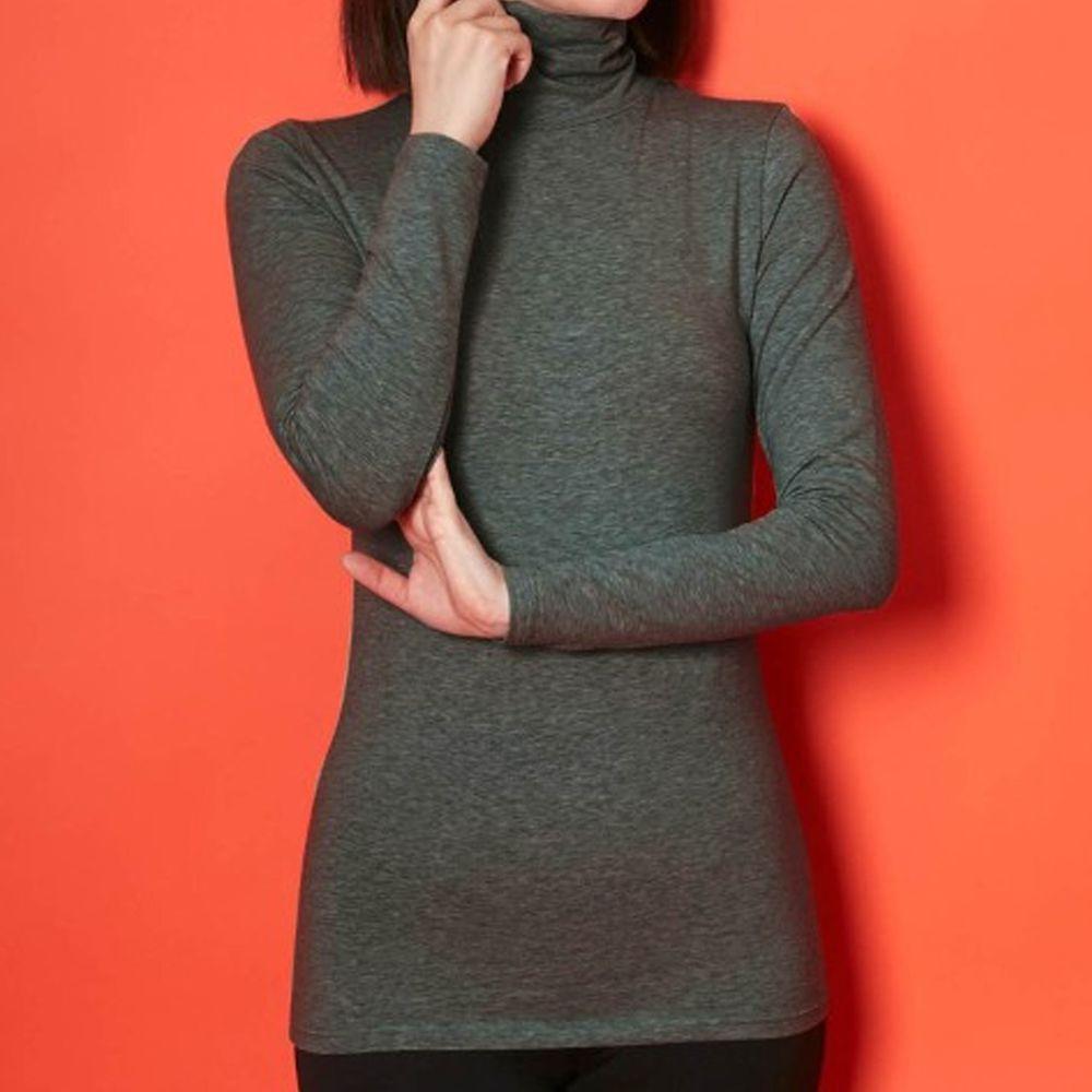 日本千趣會 - 95%棉 (媽媽)高領十分袖發熱衣-深灰