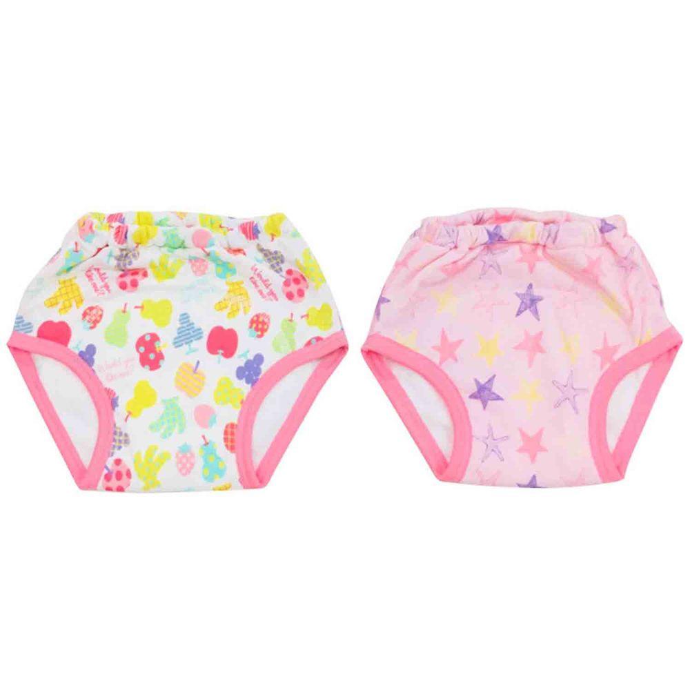 akachan honpo - 女童3層學習褲2件組-(水果・星星)-粉紅色
