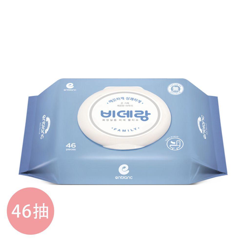 韓國 ENBLANC - 有蓋濕式衛生紙 牡丹花香 46抽-有蓋大包-藍色-單包