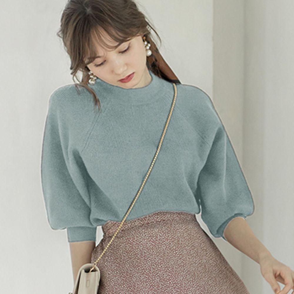 日本 GRL - 小高圓領七分袖薄款針織上衣-藍綠