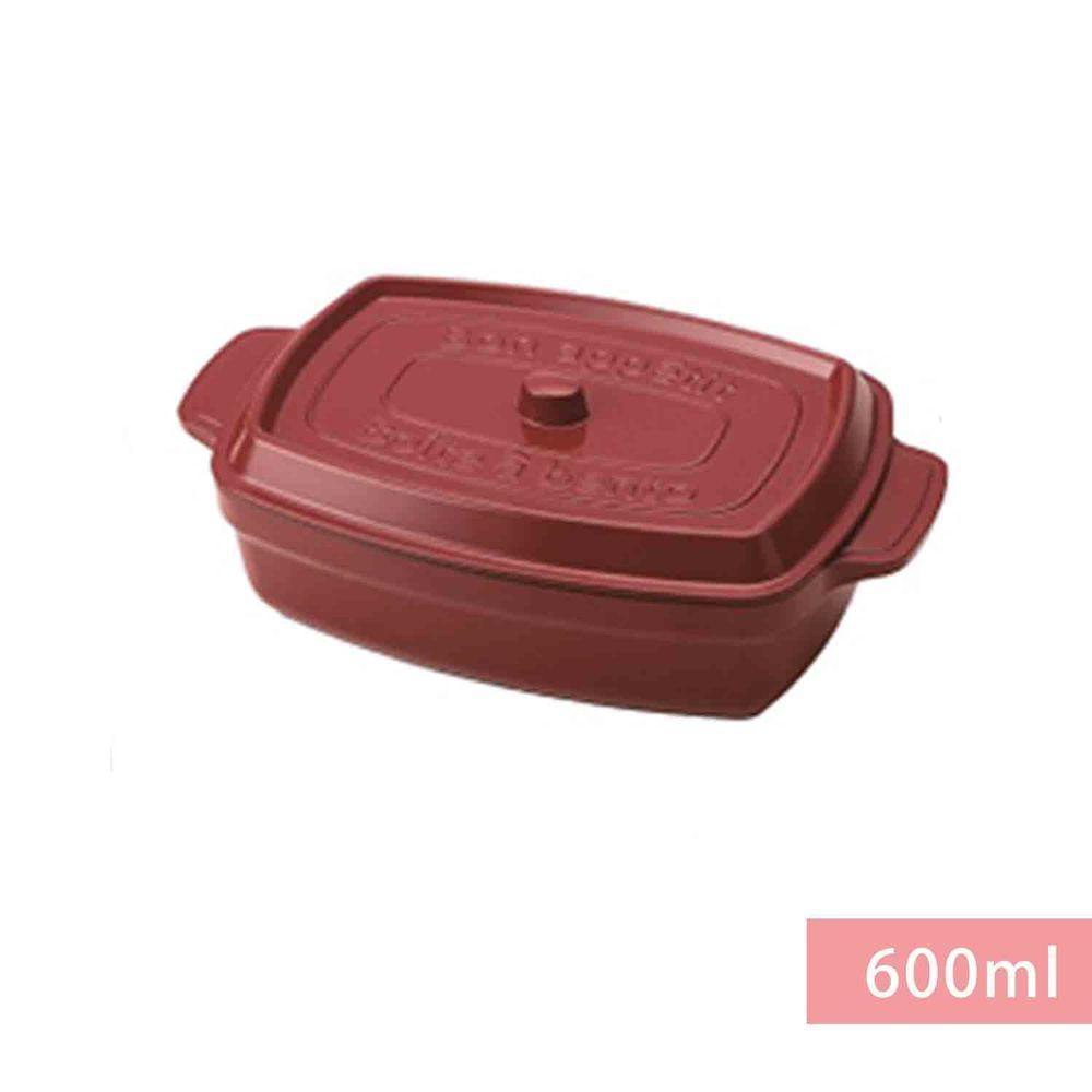 日本 TAKENAKA - 日本製鑄鐵鍋造型便當盒/保鮮盒-附隔板-沈穩紅-600ml