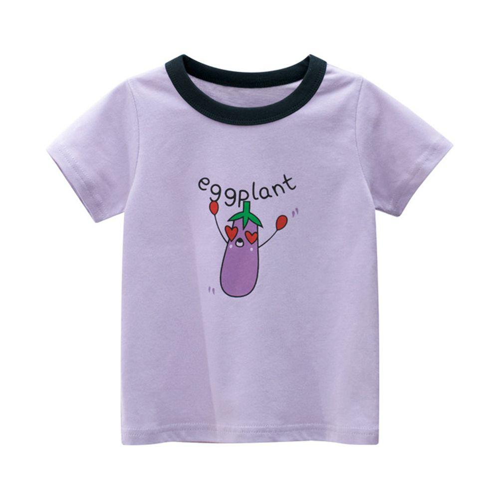 純棉短袖上衣-eggplant茄子-淺紫色
