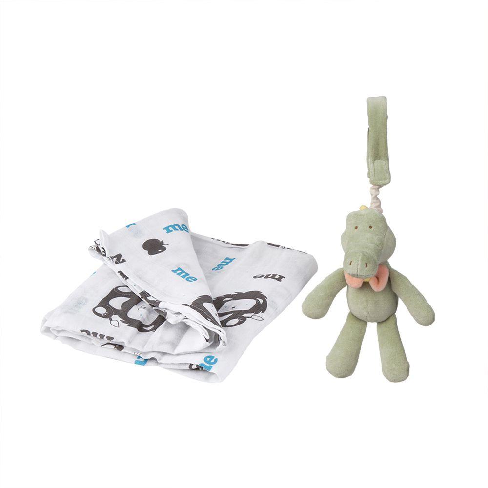 以色列 mezoome - 有機棉精品床寢-新生寶貝超值組-土耳其藍-紗布包巾+吊掛小玩偶 阿里鱷魚