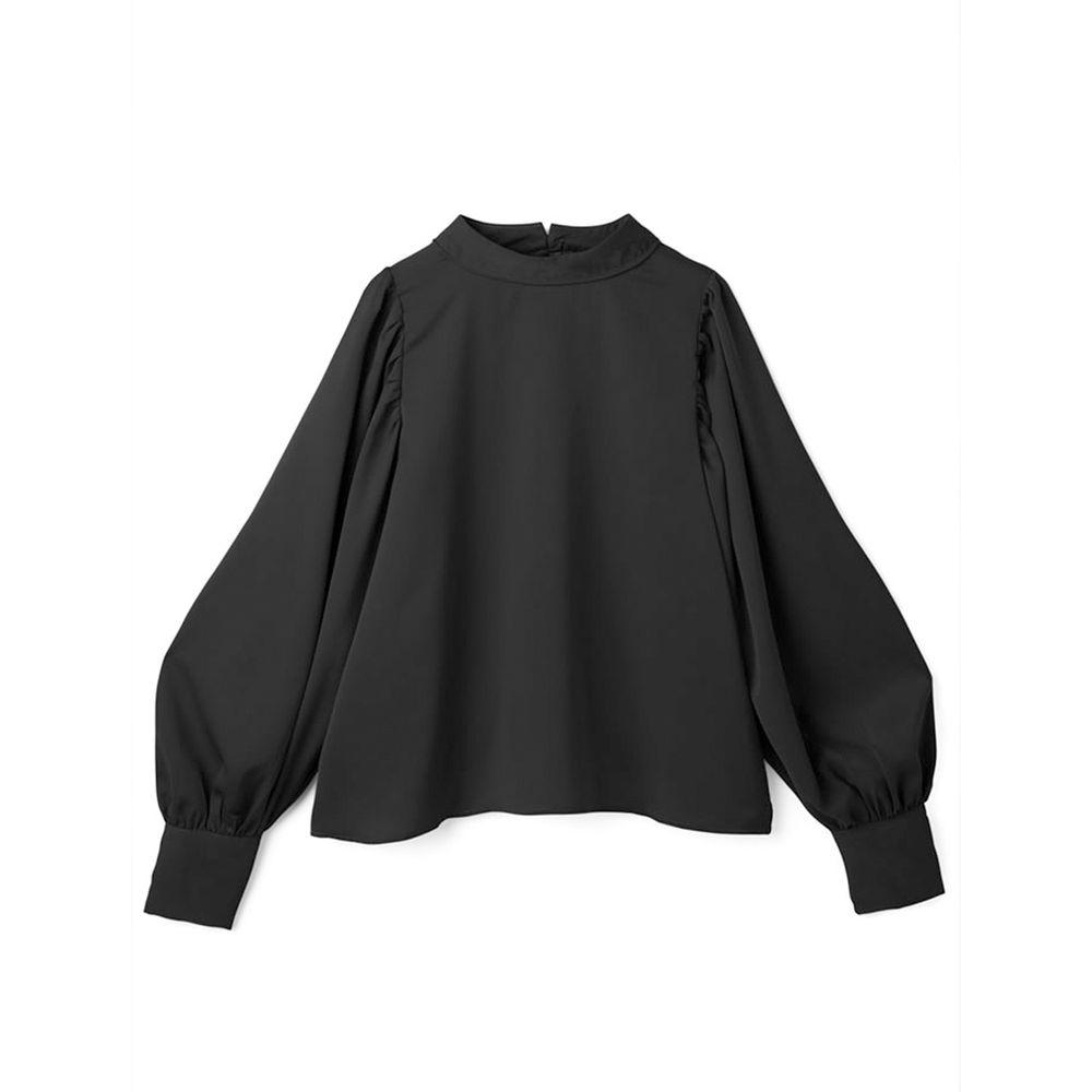 日本 GRL - 奢華雪紡質地澎袖長袖上衣-時尚黑