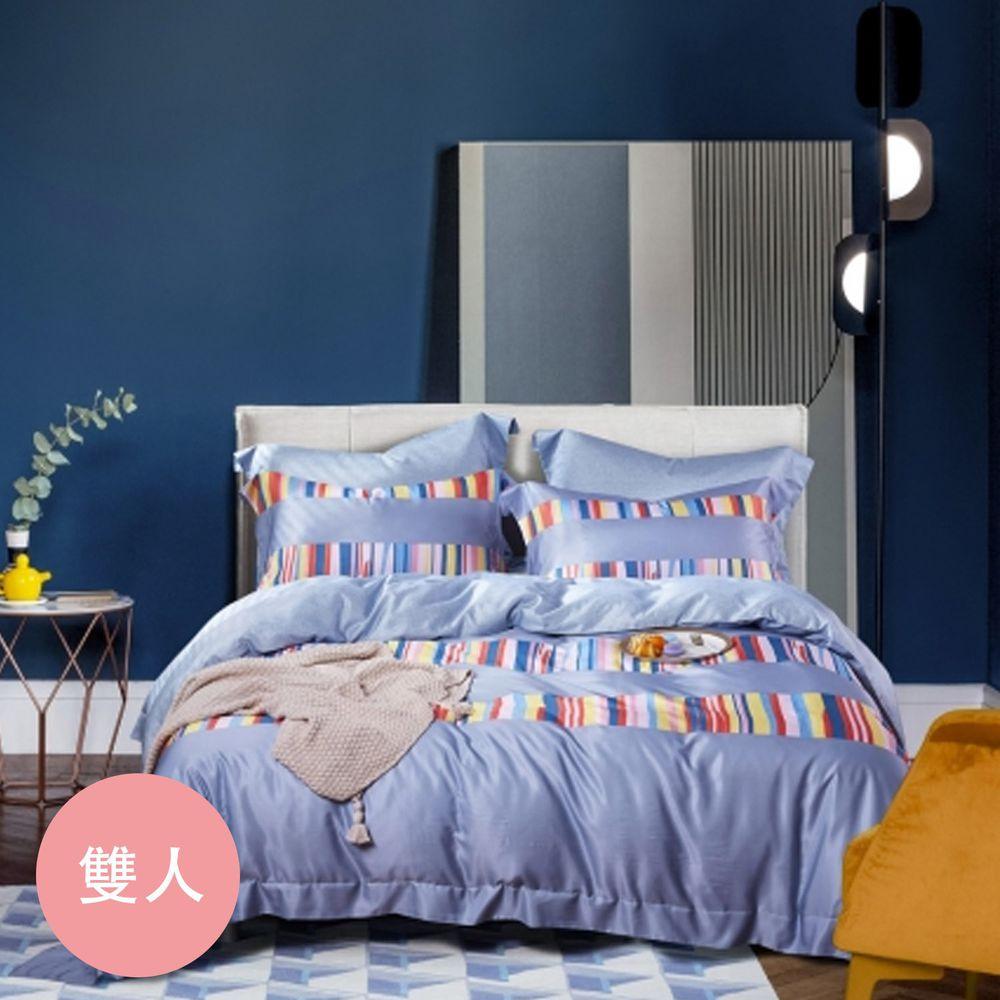 PureOne - 吸濕排汗天絲-嬉戲-雙人床包枕套組(含床包*1+枕套*2)