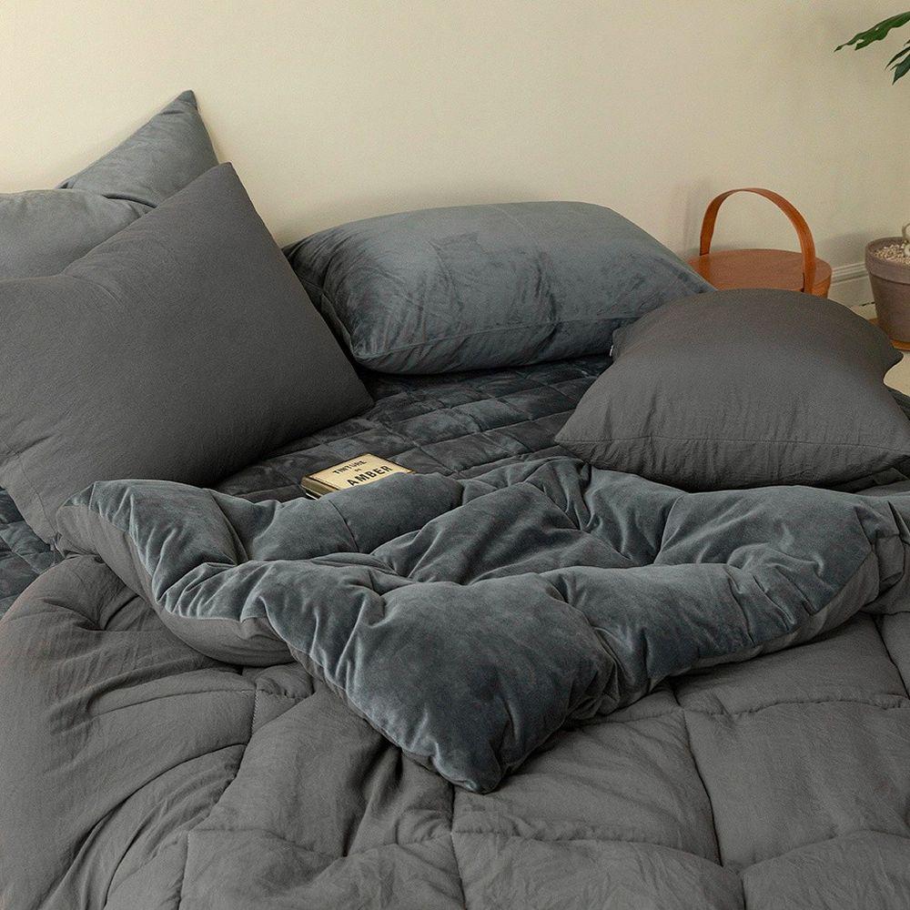 韓國製 - 可水洗超細纖維雲朵棉被(無枕套)-芝麻牛奶