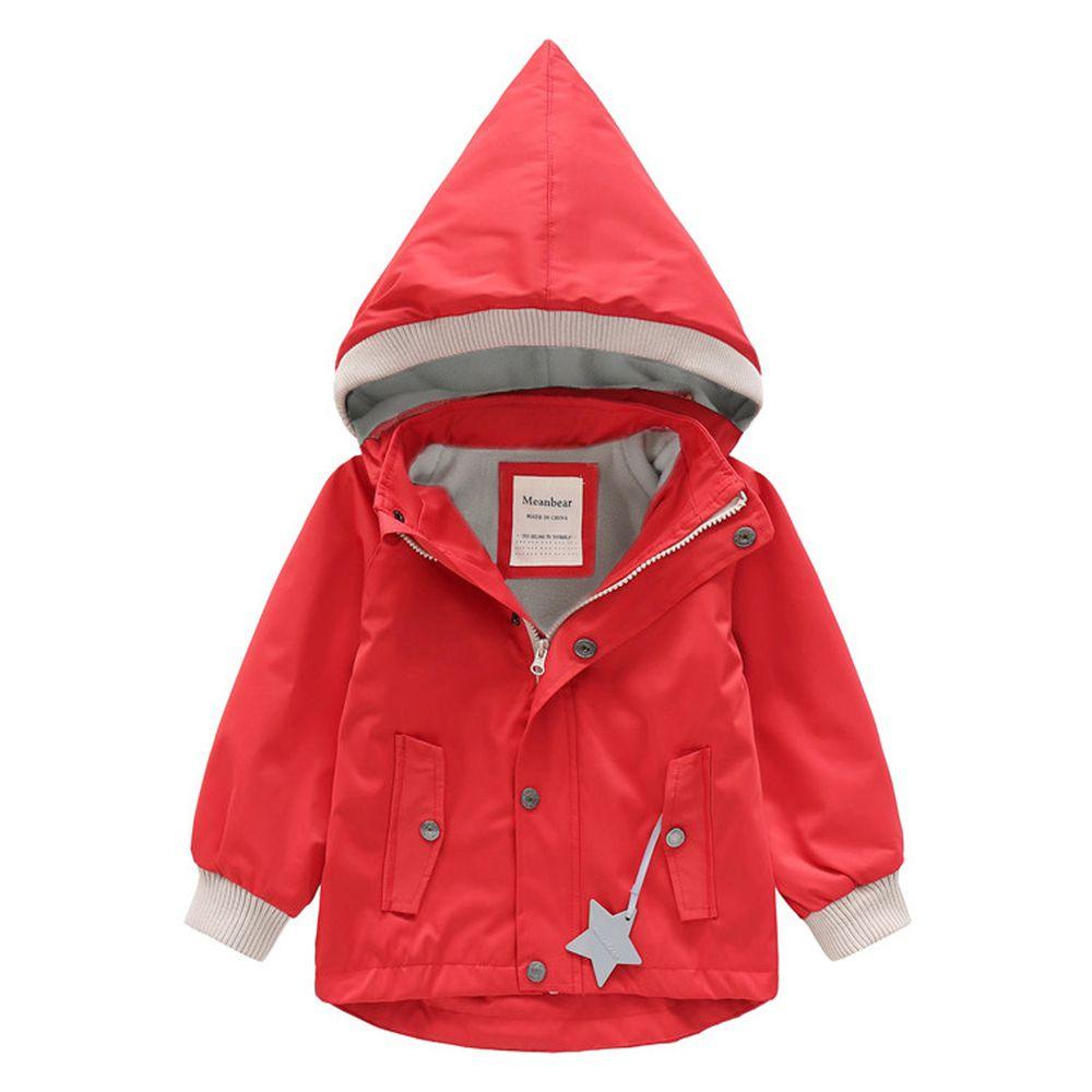 防風防雨加絨衝鋒外套-尖帽-紅色