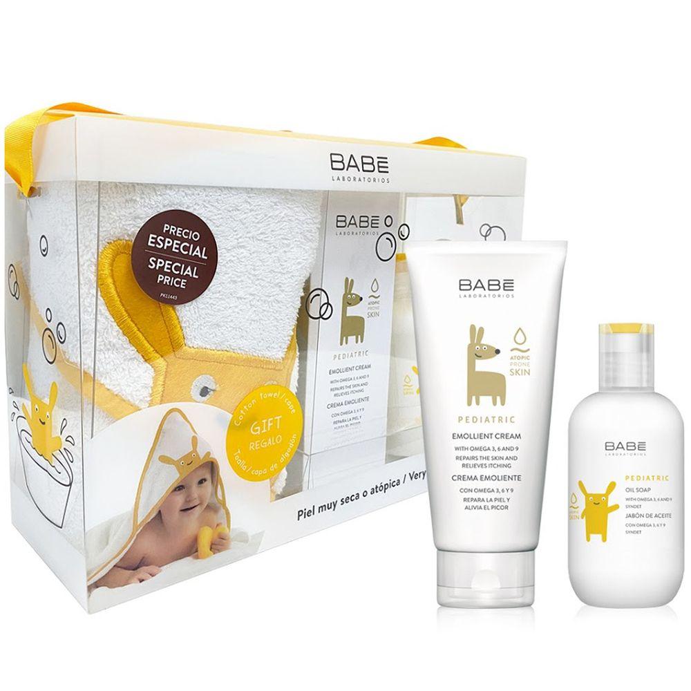 BABE 貝貝實驗室 - 舒敏禮盒-舒敏潤膚霜200ml+寶寶沐浴油200ml+寶寶浴巾