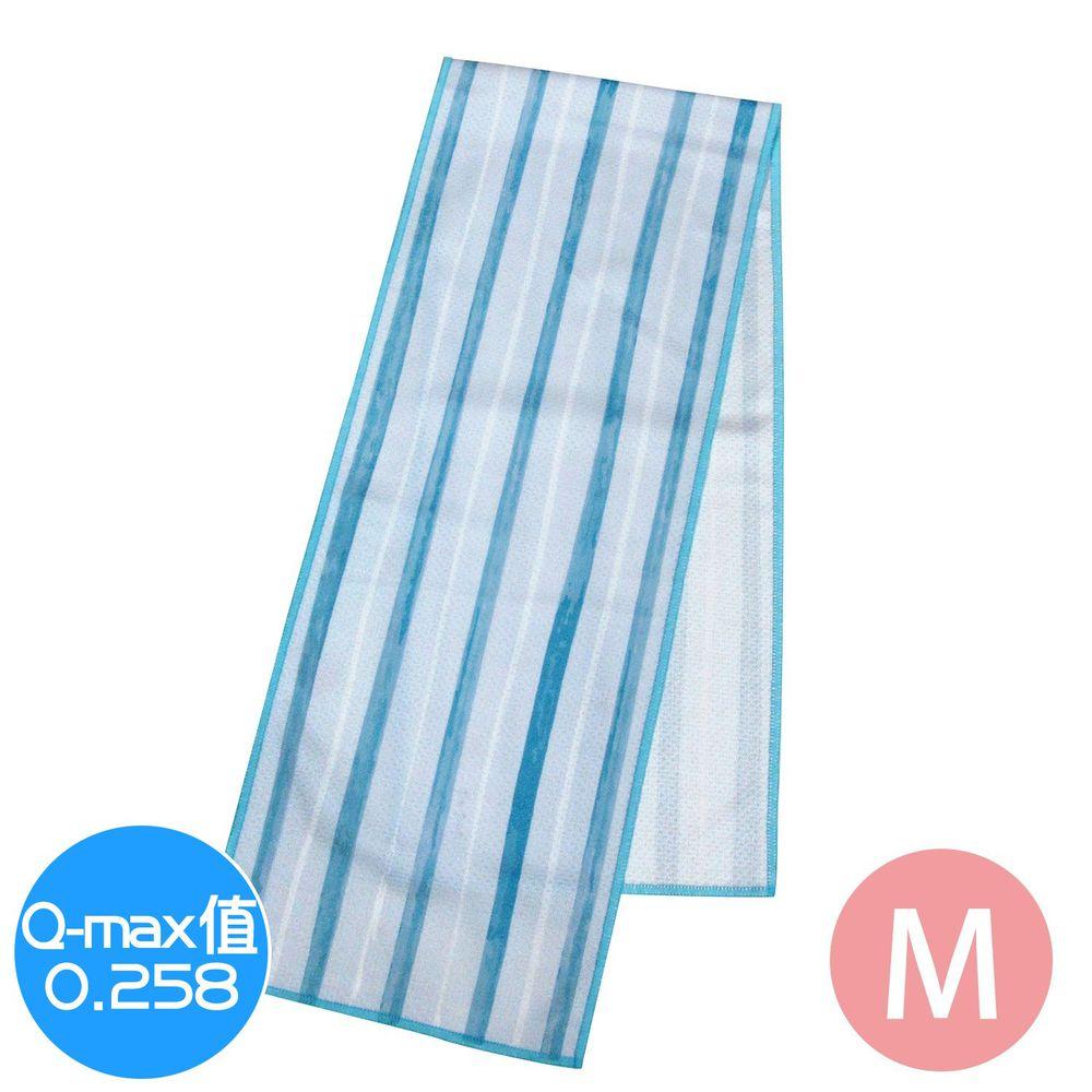 日本 DAIKAI - 抗UV接觸冷感 水涼感巾-條紋-藍白 (M(80x15cm))